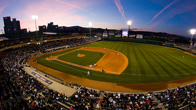 The Reno Aces ball Park at Sunset
