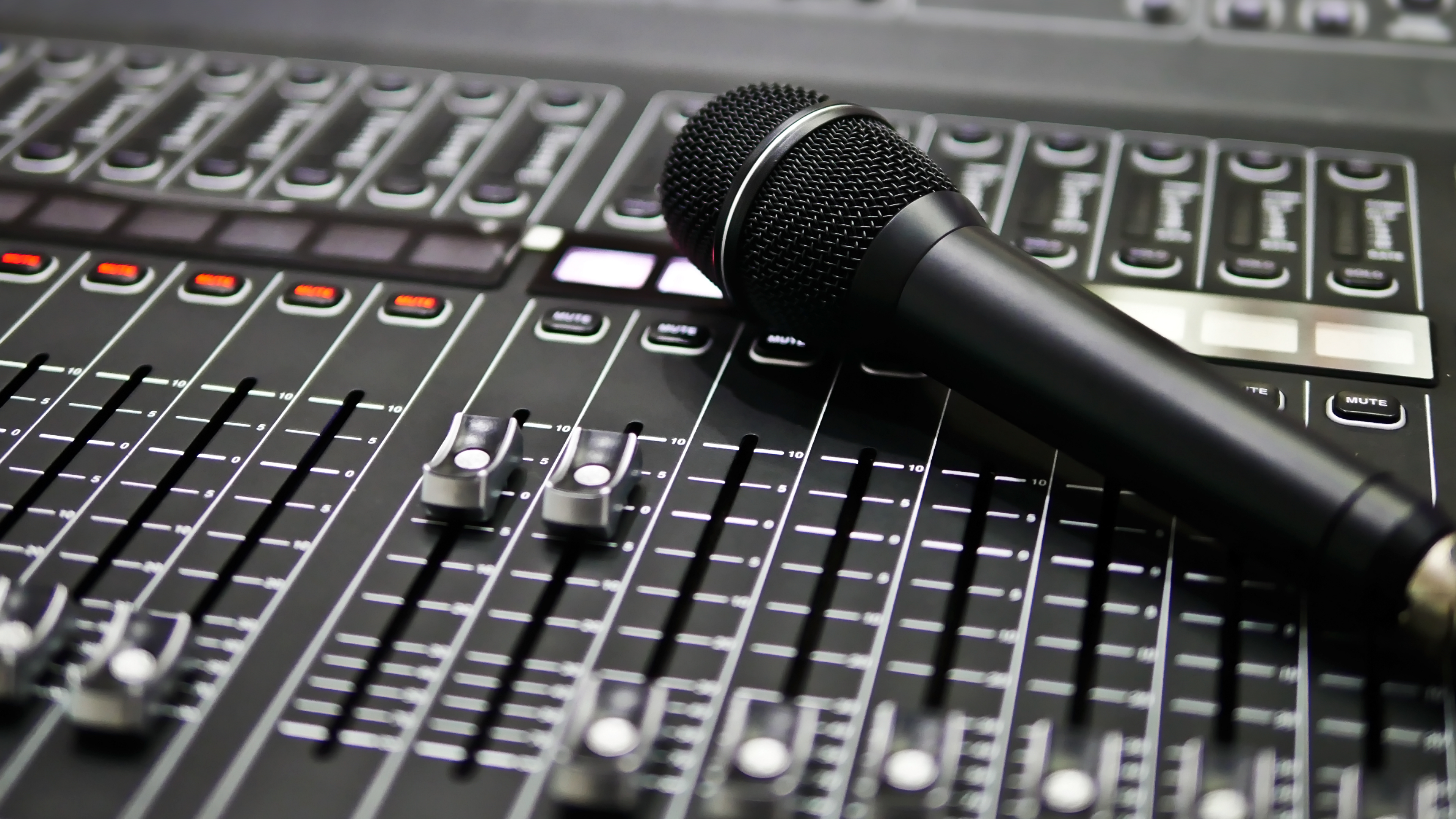 Audio Mixing Board and Microphone
