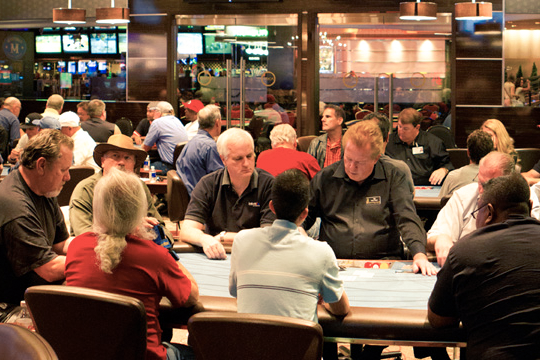 Busy tables in the Poker Room at GSR.