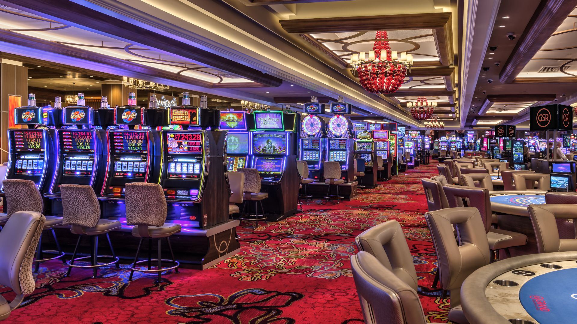 Casino floor table pit and slots