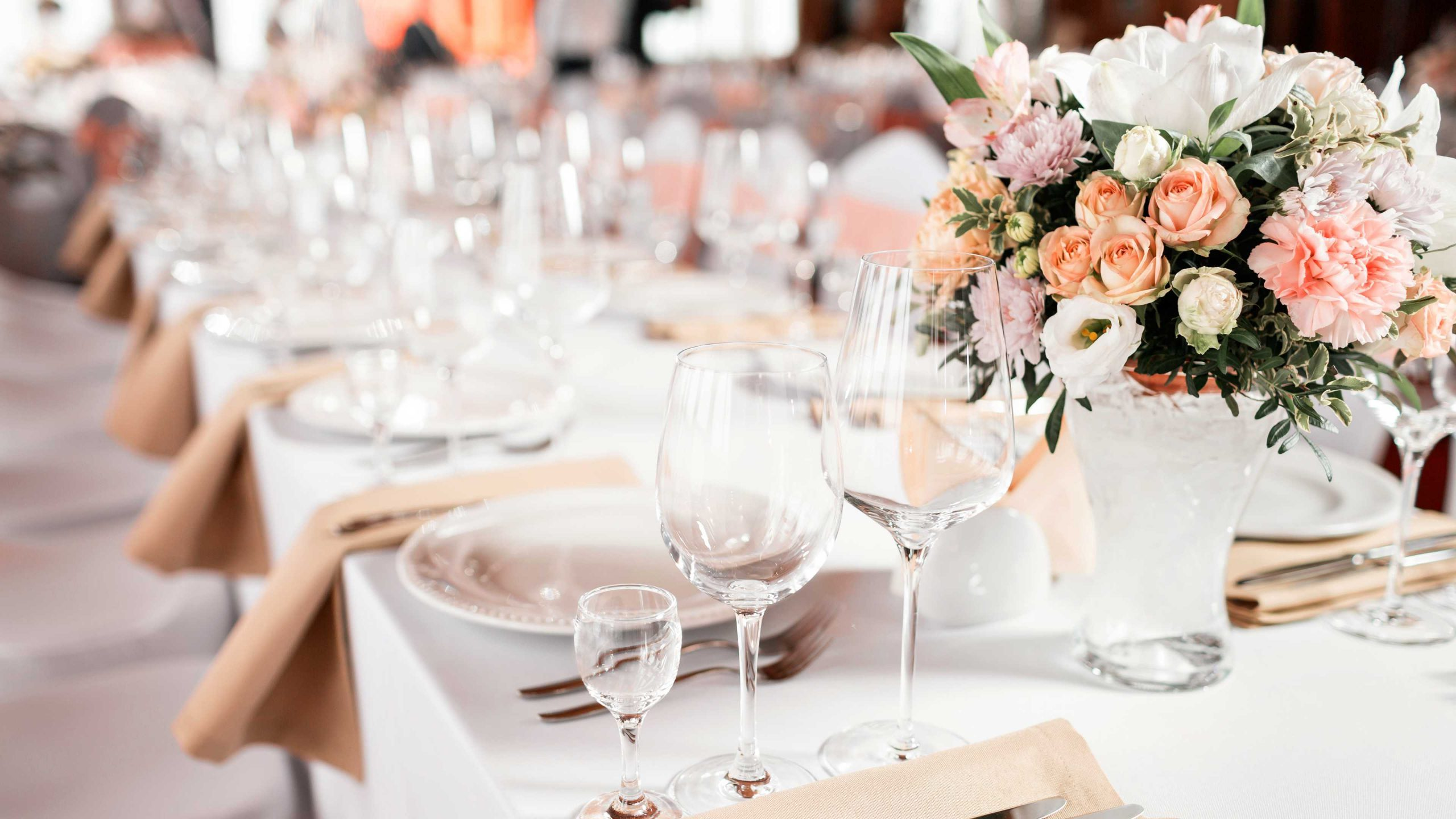 Wedding reception table setting.