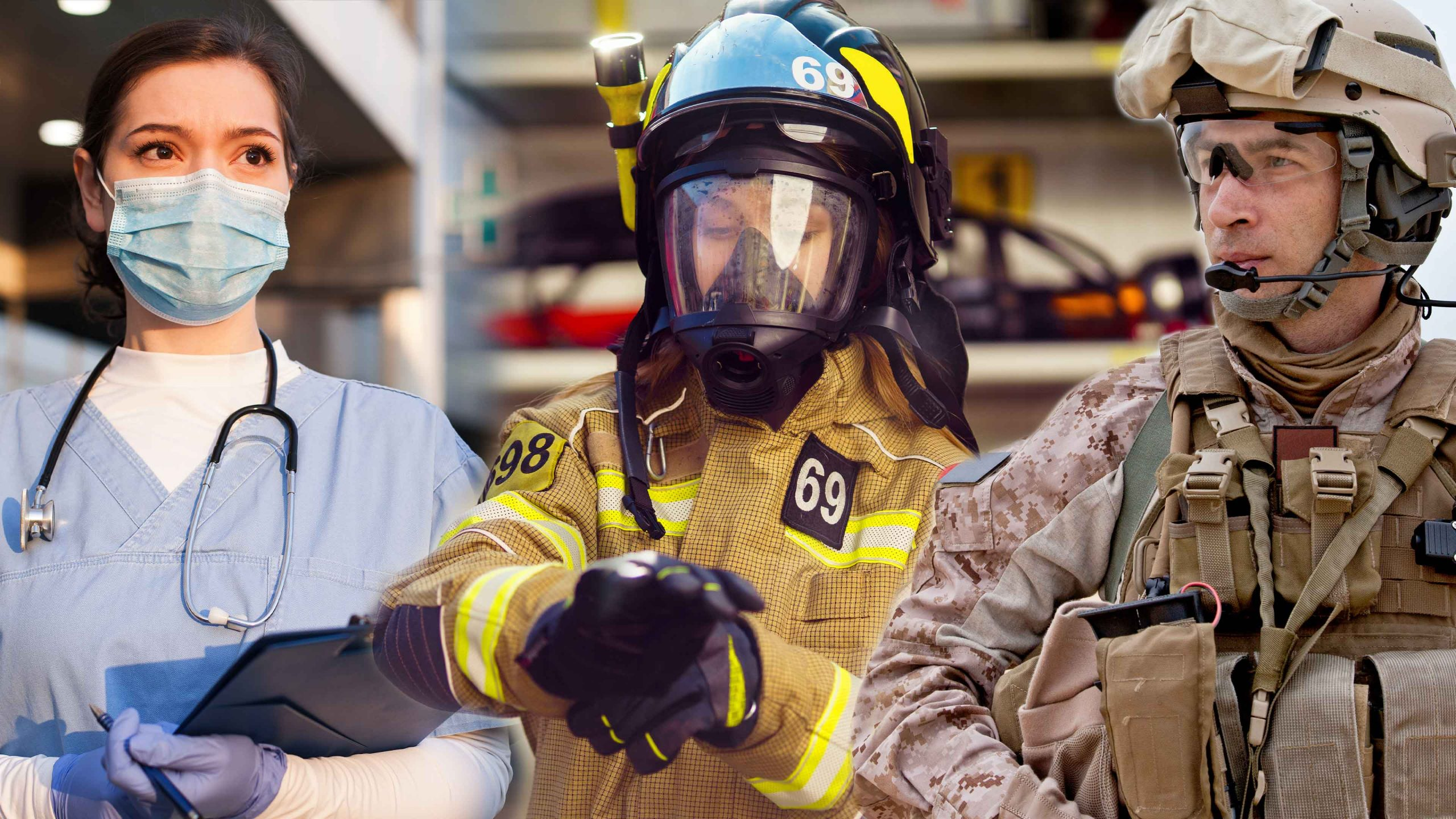 Nurse, Firefighter, and Military soldier
