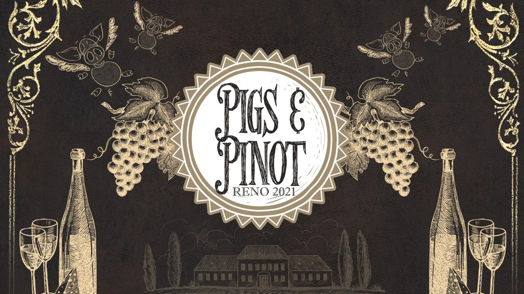 Artistic Pigs and Pinot logo on chalkboard background