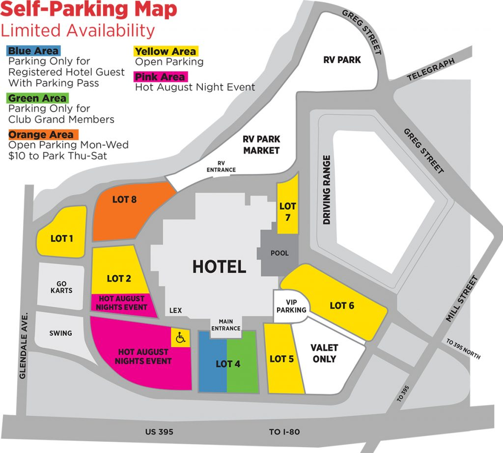 Hot August Nights Self-Parking Map at GSR